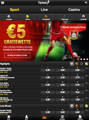 tipbet mobile startseite screenshot