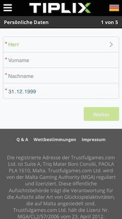 Tiplix App Registrierung