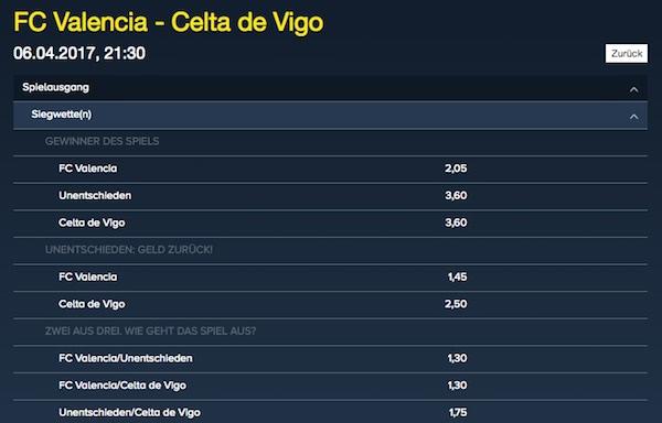 Valencia Celta Vigo Quoten