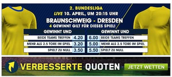 Verbesserte Quoten 2. Bundesliga