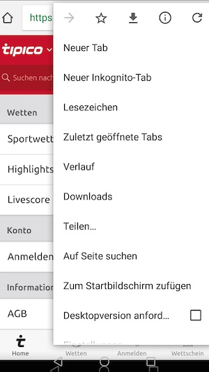 Tipico Desktop Seite