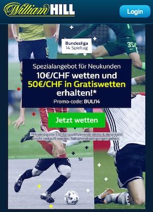 William Hill 50 Euro gratis