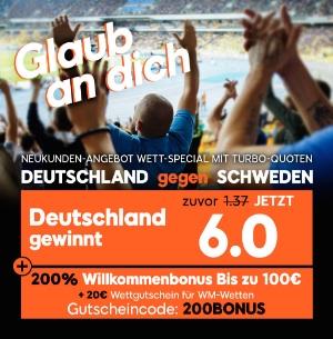 888sport Quotenboost Deutschland Schweden WM 2018