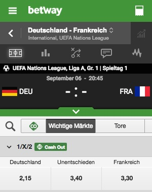Betway Quoten GER FRA Nations League