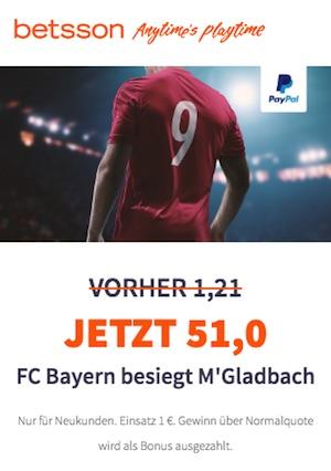 Betsson Quotenboost Bayern - Moenchengladbach
