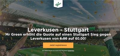 Bayer Leverkusen gegen VfB Stuttgart Quotenboost bei Mr. Green