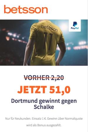 Betsson Quotenboost Schalke - Dortmund 08.12.18