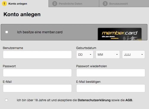 Bei Cashpoint registrieren