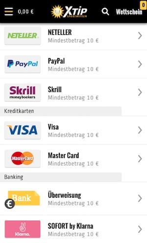 xtip einzahlungsoptionen