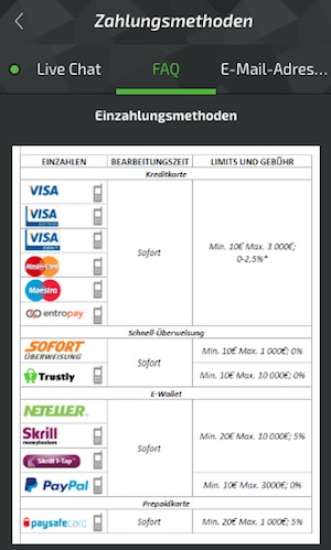 Mobilebet Einzahlungsmethoden