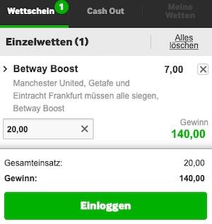 Betway EL Wettschein