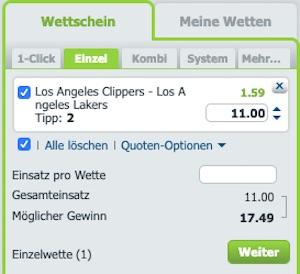 Bet at Home NBA Wettschein