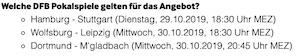 Betway DFB Pokal Spiele