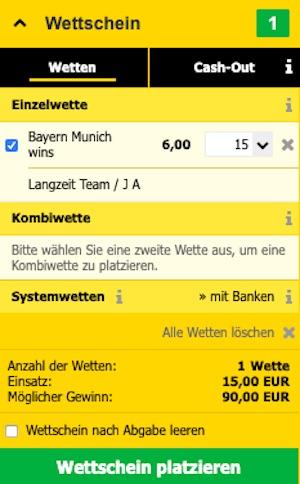 Interwetten Bayern Wettschein