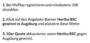 MoPlay Augsburg Hertha Neukunden Promo