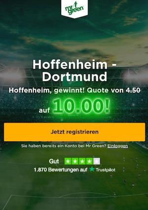 Mr. Green Hoffenheim Dortmund Quotenboost