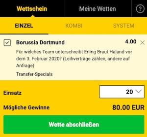 Erling Haaland BVB Wechsel Wette