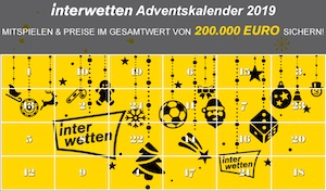 Adventskalender 2019 Interwetten