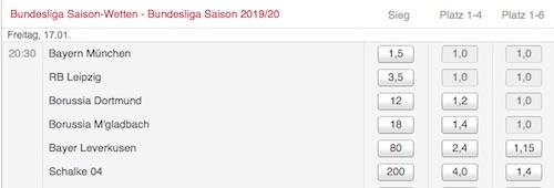 Bundesliga Meisterwette bei Tipico