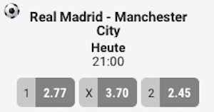 XTiP Real Madrid vs. Manchester City Quoten