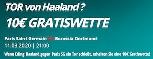 Novibet Haaland 10€ Gratiswette PSG BVB