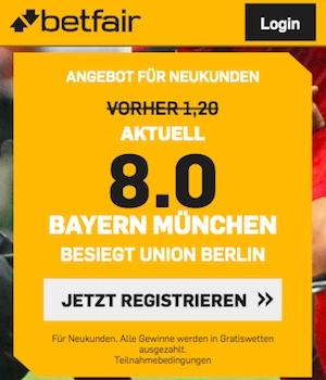 Bayern vs Union Boost bei Betfair