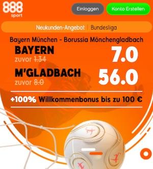 888sport Bayern vs. M´Gladbach Quoten