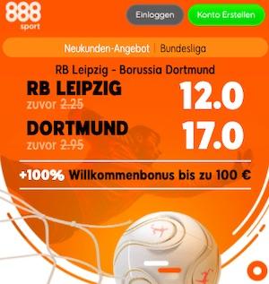 888sport Leipzig vs Dortmund Quoten Boost