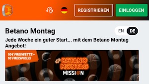 Betano Montag Mission 10 Euro