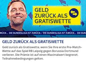 SkyBet Leipzig gegen Dortmund Gratiswette