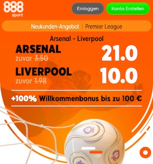 888sport Arsenal Liverpool Quoten