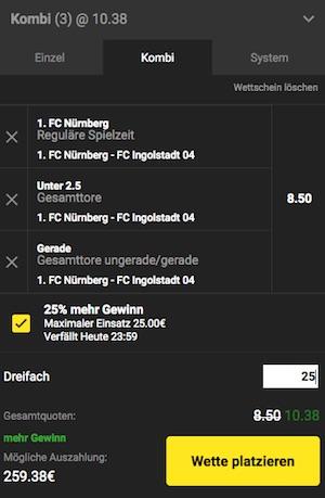 Relegation Nürnberg-Ingolstadt Unibet Boost