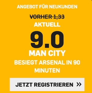 Betfair Man City Arsenal Quote 9.00