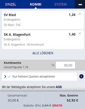 Admiralbet Ried Klagenfurt Wette