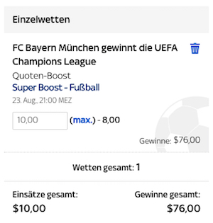 Sky Bet Super Boost Bayern Champions League