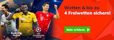 4 Freiwetten zum Champions League Start bei Bahigo