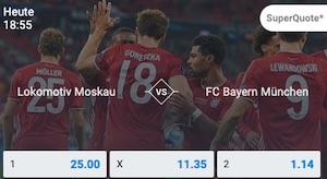 Betano Lok Moskau FC Bayern Wettquoten