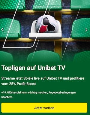 Unibet TV ManU Arsenal 25 Prozent Boost