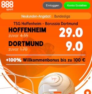 888sport Hoffenheim gegen Dortmund Quoten Boost