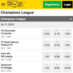 Interwetten Champions League Quoten