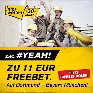 Interwetten Dortmund Bayern 11 Euro FreeBet