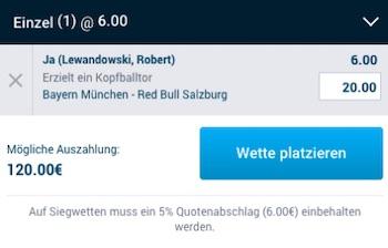 MyBet Lewandowski Kopfballtor gegen Salzburg