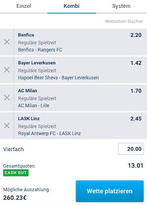 Europa League Kombiwette Spieltag 3 bei Mybet