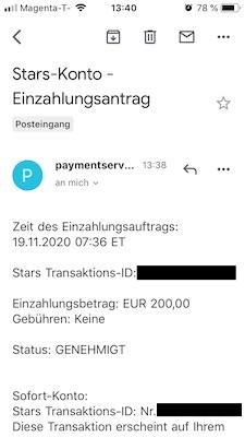 Skybet Einzahlungsbestätigung