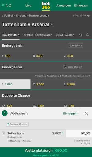 Tottenham Arsenal Bet365 Quoten