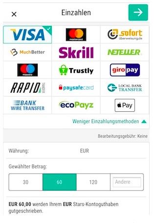 Skybet Apple Pay Einzahlungen Übersicht