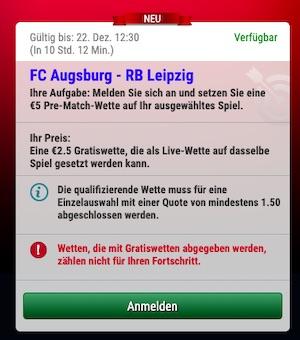 SkyBet Augsburg Leipzig Gratiswette