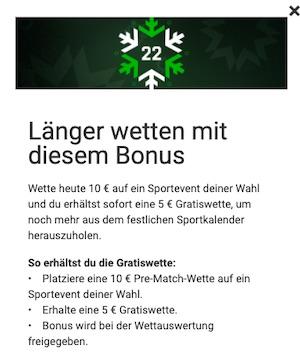 Unibet 5 euro 22. Dezember