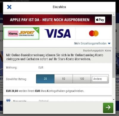 Einzahlungsfenster Skybet