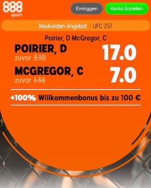 888sport Poirier McGregor Quoten Boost